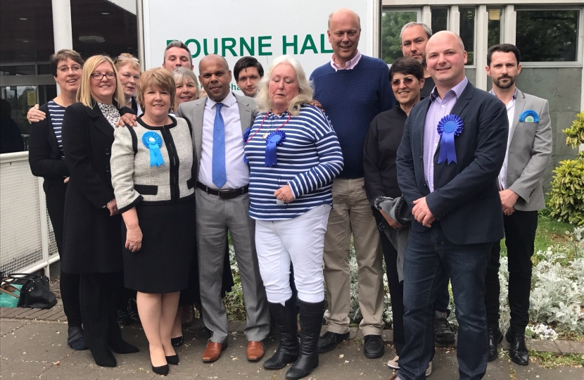 Epsom's victorious Conservative county councillors and team